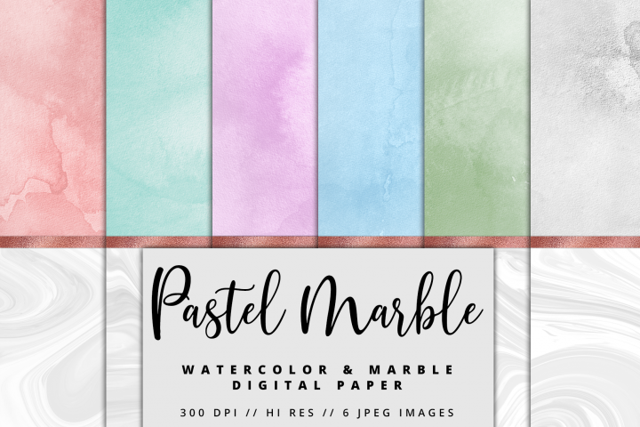 Pastel Marble Watercolor Rose Gold Foil Textures | 6 Pack