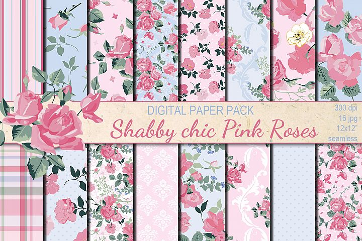 Shabby chic pink roses seamless digital paper pack