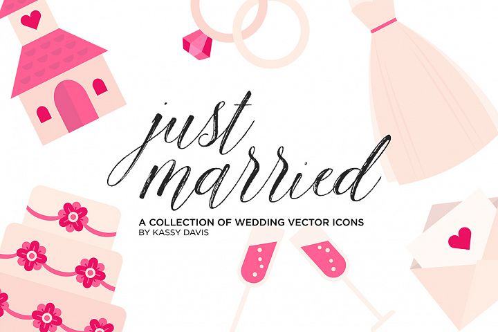 Just Married Vector Icon Set