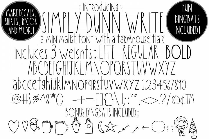Simply Dunn Write Farmhouse 3 Weights Font Family & Dingbats