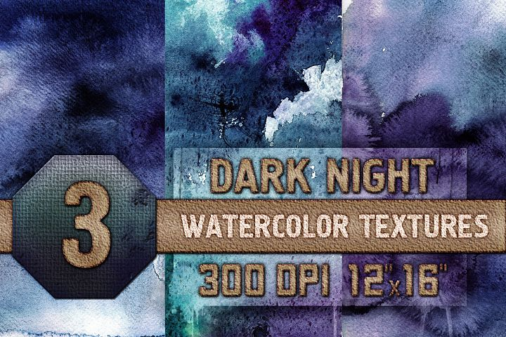 3 Dark Night Watercolor Texture Digital Papers, Backrgounds