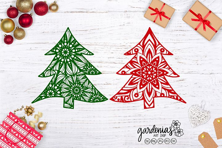 Christmas Tree Mandalas SVG Cut Files   Clip Art Designs