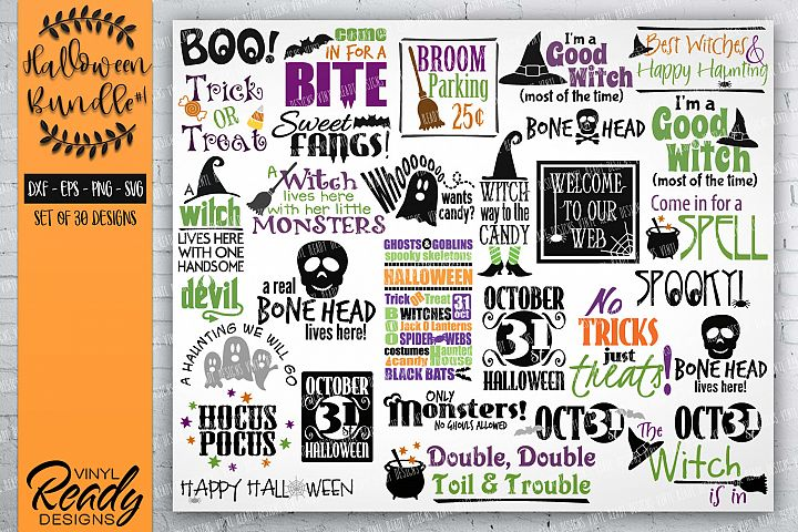Halloween Bundle #1- 30 designs - Vector Clip Art File