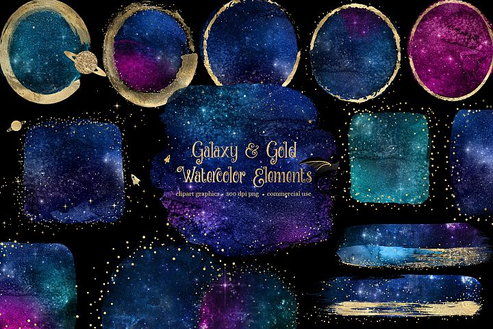 Galaxy and Gold Watercolor Elements Clipart