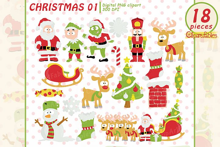 Christmas Clipart, Cute Santa and Elf art - INSTANT download