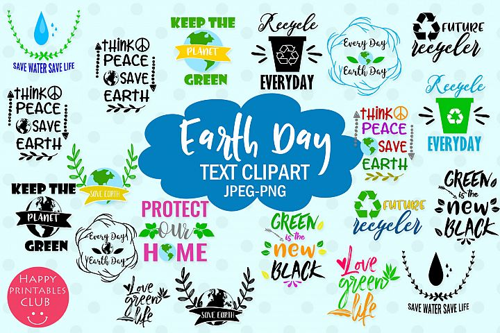 Earth Day Text Clipart- Earth Day Clipart Overlays