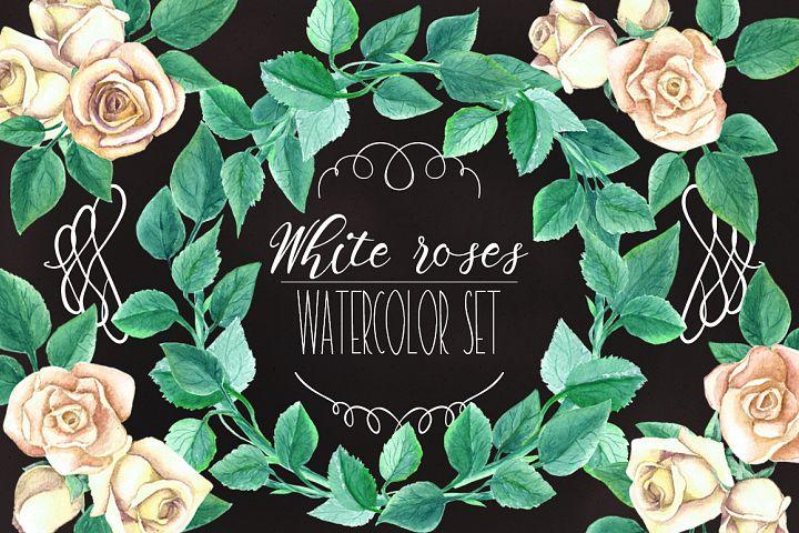 Watercolor White Roses Wedding Set