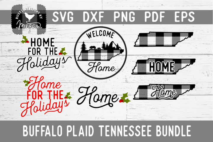 Tennessee Buffalo Plaid State Home SVG Bundle
