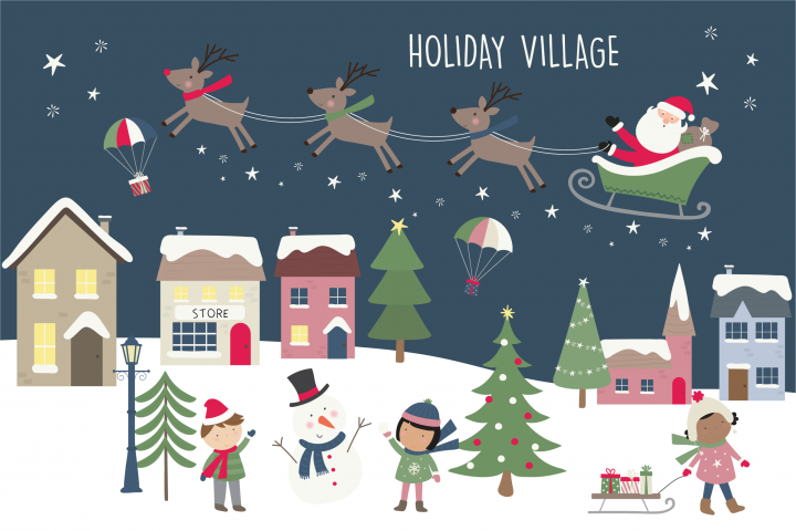 Holiday village clipart and paper