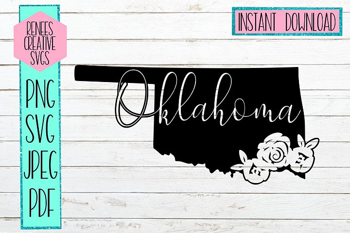 Oklahoma state with flowers| State SVG | SVG Cutting file