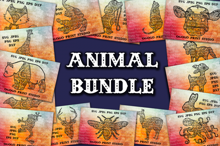 Mandala style 30 Animal Svg BUNDLE, Zentangle Svg, Boho svg
