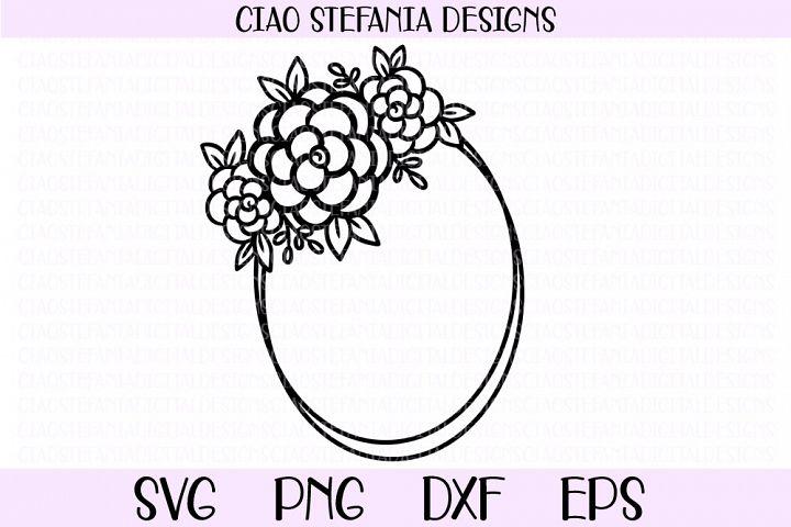 Flower Geometric Oval Frame Wedding SVG PNG DXF EPS Cut