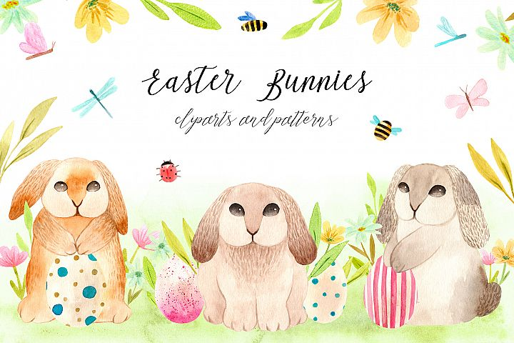 Spring Watercolor Easter Bunnies. Patterns and cliparts