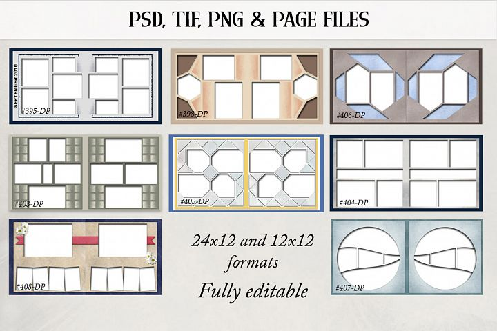 Digital Scrapbook Double Page Templates Bundle 1