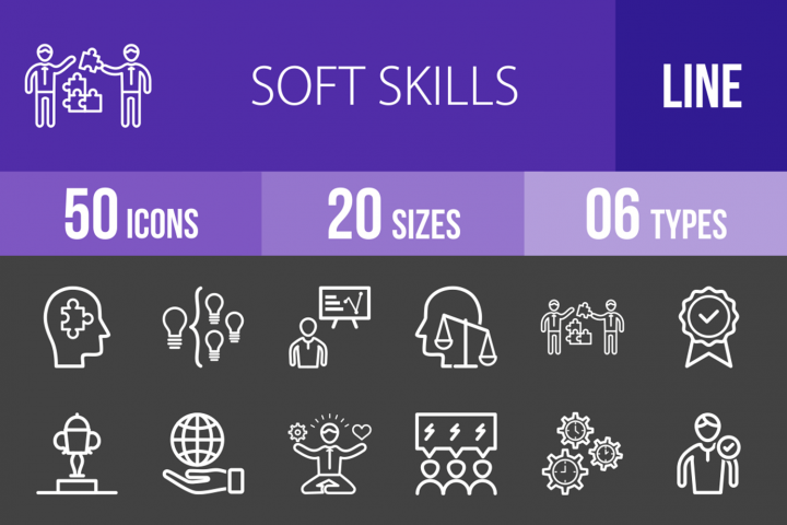 50 Soft Skills Line Inverted Icons