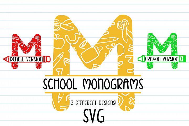 School Monogram Maker | 3 Different Alphabet Designs| SVG