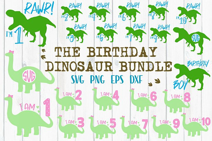 Birthday Dinosaur Bundle - SVG, PNG, DXF, EPS