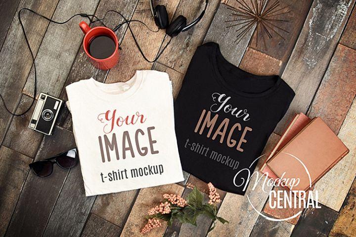 Unisex White and Black T-Shirt Set Styled Shirt Mockup JPG