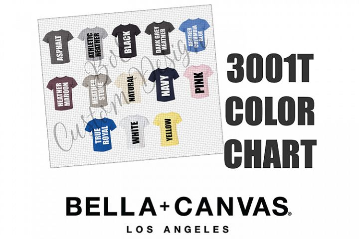 Bella 3001T Toddler T-Shirt Color Chart