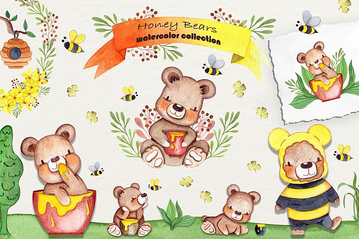 Honey Bears Watercolor Collection