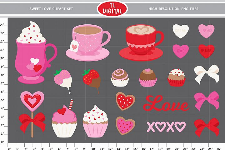 Sweet Love Clipart Set - 22 PNG Graphics