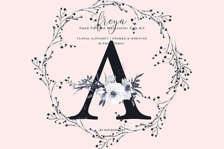 Elegant Gray Florals Alphabet - Gray and Golden Wreaths