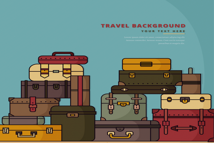 Painted stacked suitcase vector