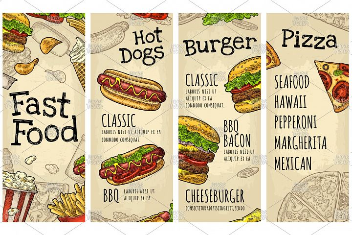 Menu Fast Food. Burger, Hotdog, Pizza lettering engraving