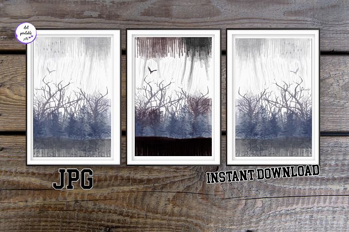 Set of 3 prints foggy forest poster, 3 piece wall art forest