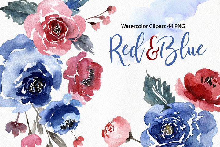 Watercolor Blue & Red Flowers Leaves