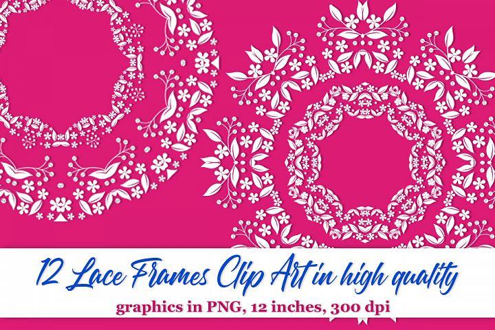 12 Lace doilies clipart Floral frame clipart Border clipart