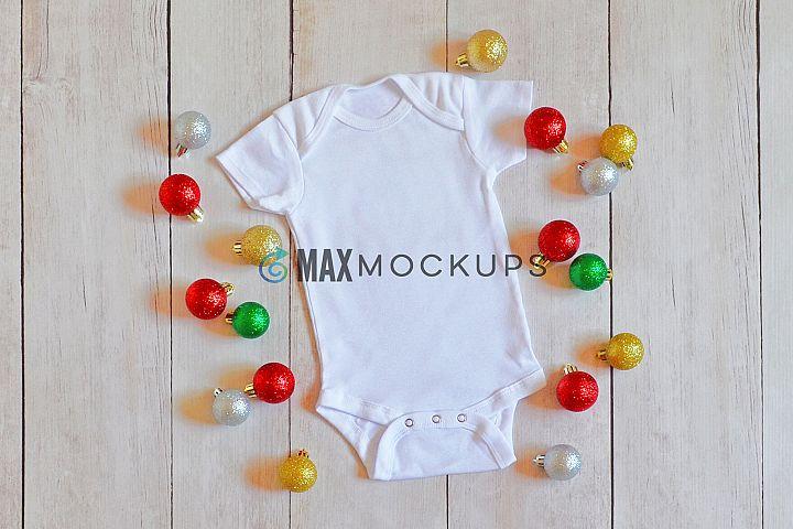 Baby bodysuit Mockup, Christmas ornaments styled flatlay