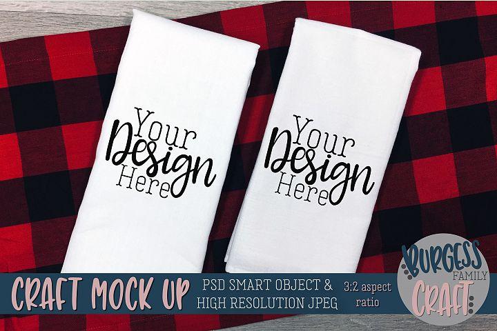 Flour sack tea towel Buffalo plaid Craft mock up|PSD & JPEG