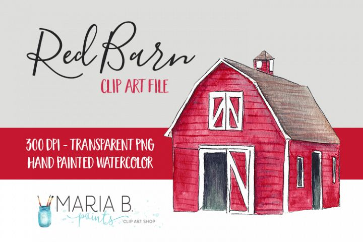 Red Barn Watercolor Clip Art PNG