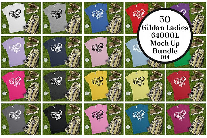 Gildan 64000L Ladies T-Shirt Camping Mockup Bundle Flat Lay