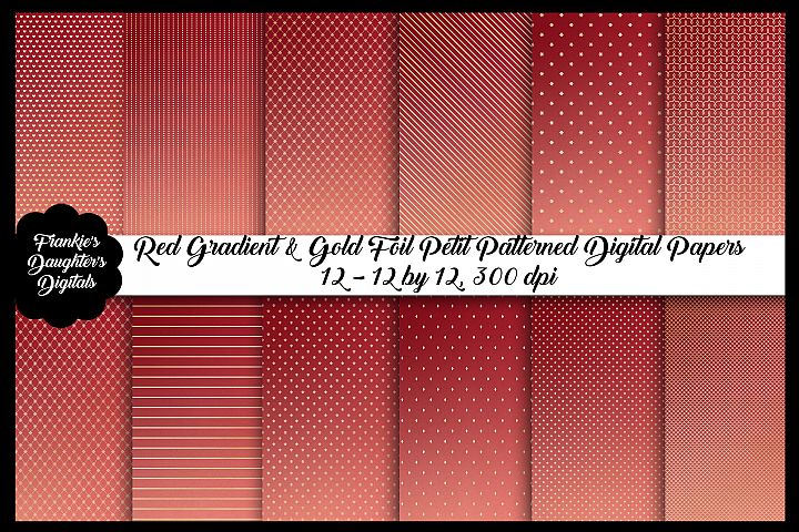Red Ombre & Gold Foil Christmas Digital Paper
