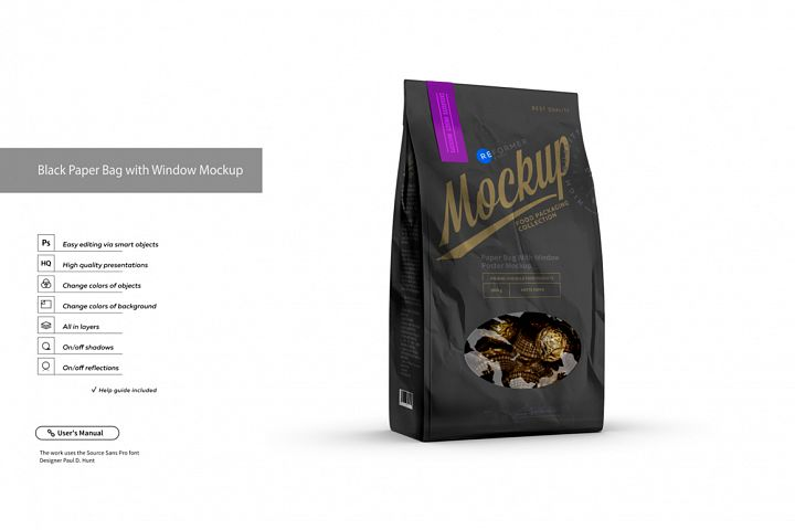 Black Paper Bag with Window Mockup