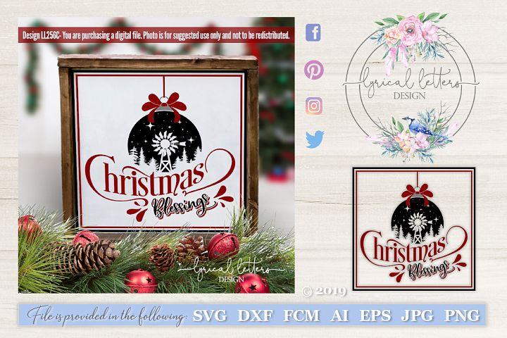 Farmhouse Christmas Blessings with Windmill SVG LL256C