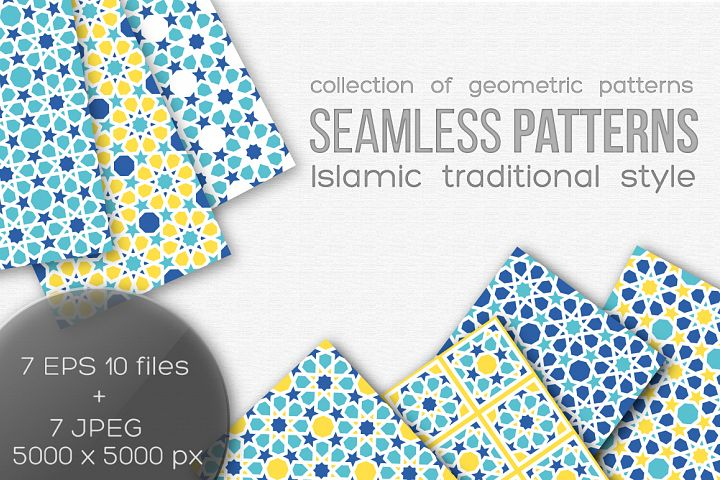 Set of seamless islamic patterns
