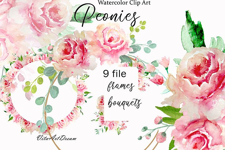 Watercolor peach Peonies frames clip art Blush flowers