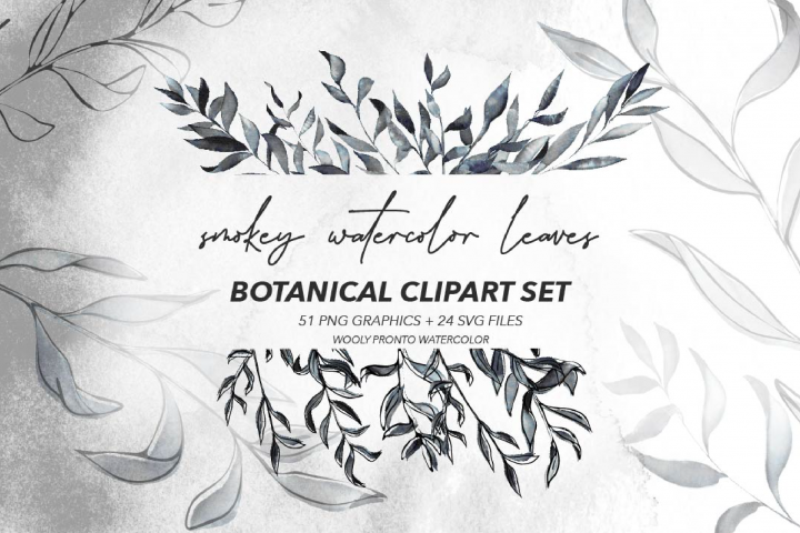 Smokey Watercolor Botanical Leaves - PNG and SVG Artwork