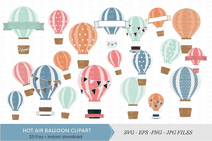 Digital Hot Air Balloon Clipart