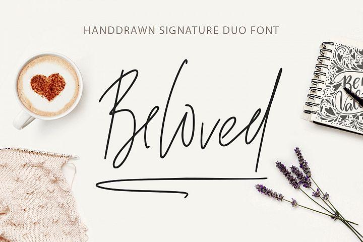 Beloved signature duo font.