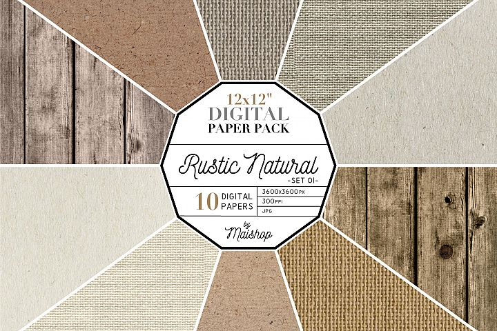Digital Paper Pack Rustic Natural Set 01
