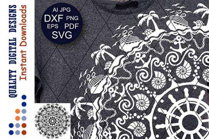 Mandala cruise clip art Summer Vacation SVG files for Cricut