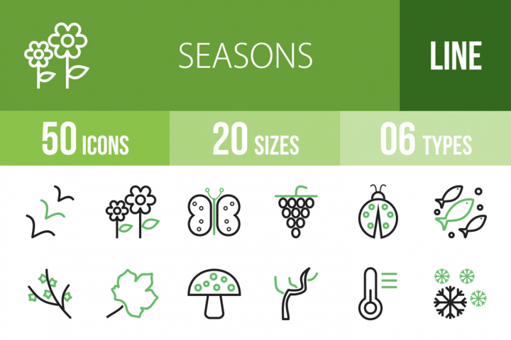 50 Seasons Line Green & Black Icons
