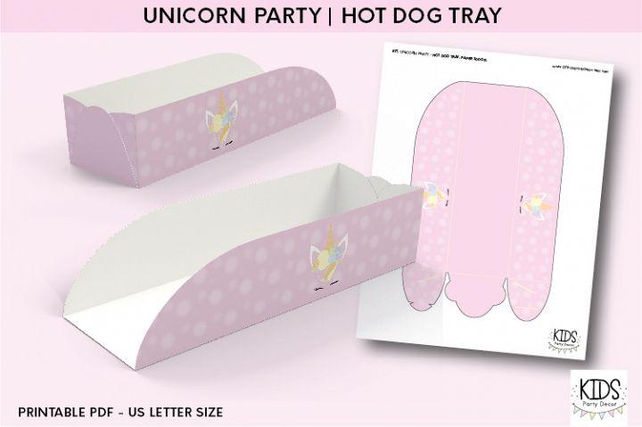 Unicorn party Hot dog tray, unicorn party printable decor