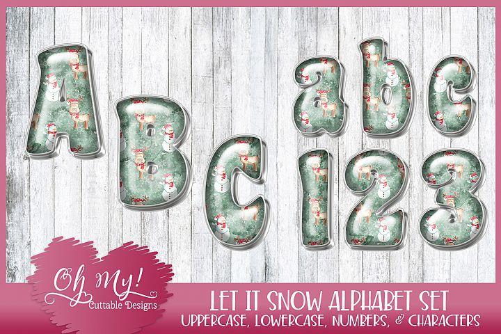 Let It Snow Christmas Alphabet Bundle Clipart Graphics