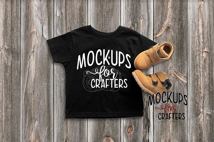 Childs TShirts - Black, Unisex - with Construction Boots