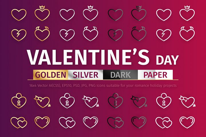 Gold & Silver Valentines Day Icons
